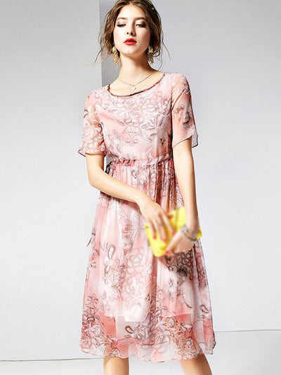 Lolita Silk Print Drawstring Waist Skater Dress