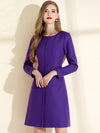 Stylish Pocket Woolen Purple Solid Bodycon Dress