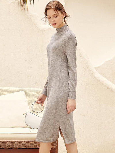 Aristocratic Solid Shift Slit Knit Sweater Dress