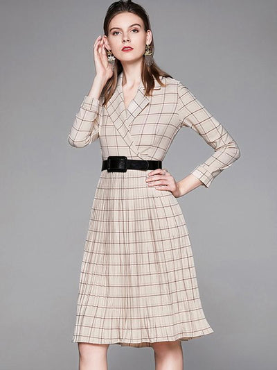 British Plaid Print Drape Skater Casual Dresses(Without Belt)