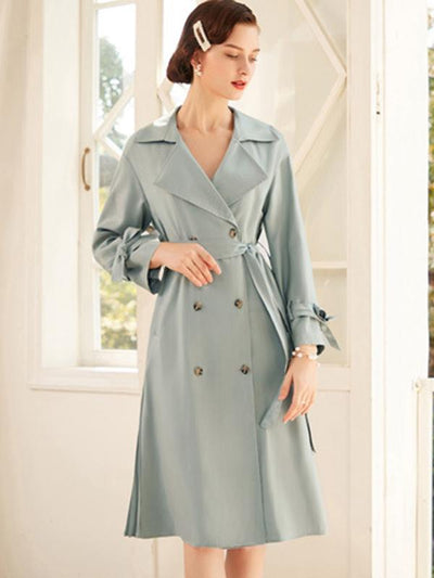 Elegant Lacing Double-Breasted Trench Coat