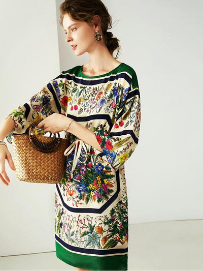 Aristocratic Elegant Drawstring Print Shift Dress