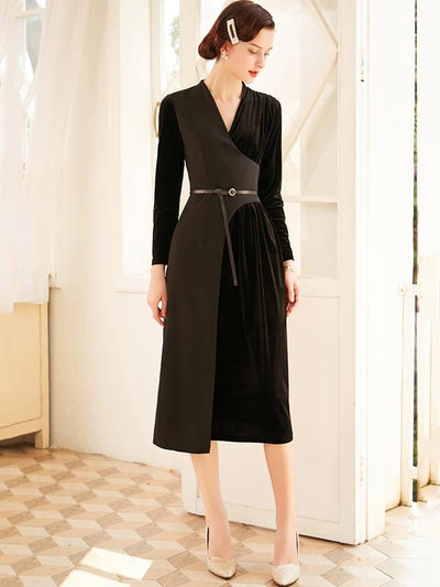 Stylish Stitching Velour Drape Maxi Dress(Without Belt)