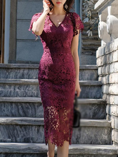 Elegant Fishtail Falbala Lace Print Bodycon Dress