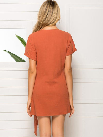 Orange V-Neck Lacing Mini Bodycon Dress