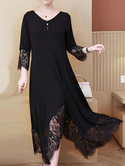 Oversize Irregular Stitching Hem Lace Shift Dress