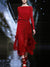 Fashion Red Irregular Big Hem Belted Maxi Dress