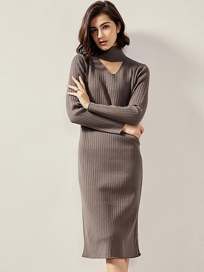Chic Hollow Out Stitching Neck Knit Sweater Dress