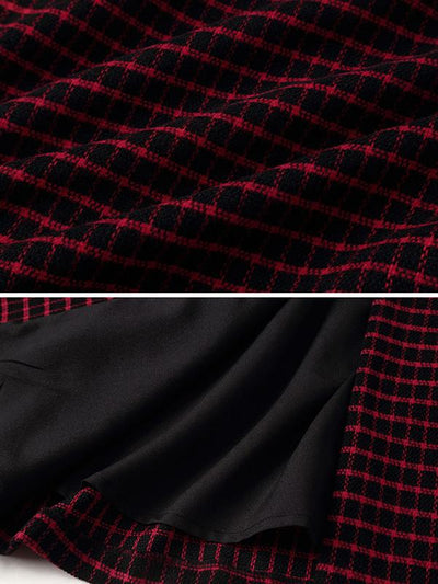 British Plaid Double-Breasted A-Line Skater Dress