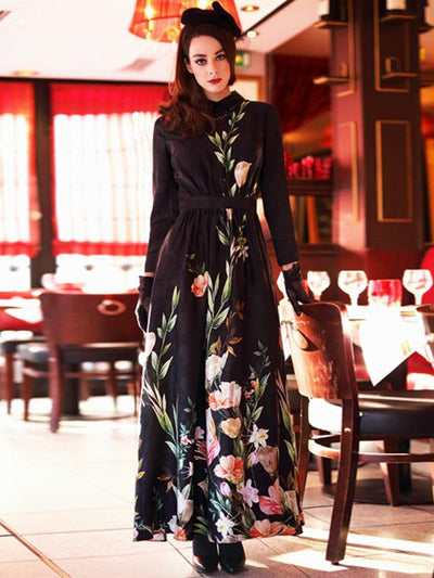 Vintage Feast Big Hem Flower Pattern Maxi Dress