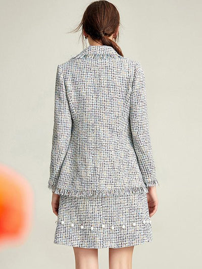 Chanel's Style Plaid Beaded Tassels Two Piece Coat Dress