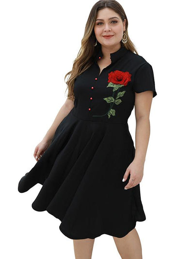 Oversize Stitching Rose Embroidery Skater Dress