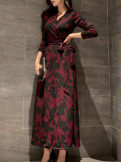 Vintage Drape Lacing Belted Print Maxi Dress