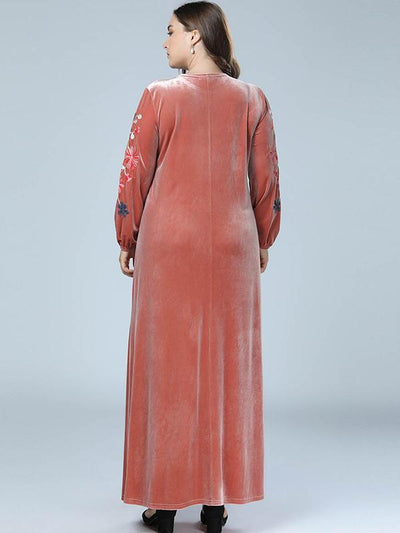 Oversize Embroidery Stitching Velour Maxi Dress