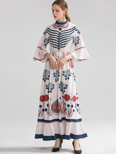 Vintage Party Pattern Print Flare Sleeve Maxi Dress