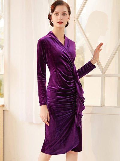 Chic Purple Pleated Falbala Slit Bodycon Dress