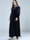 Oversize Solid Floor Stitching Embroidery Maxi Dress