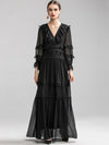 Aristocratic Stitching Lace Chiffon Floor Maxi Dress