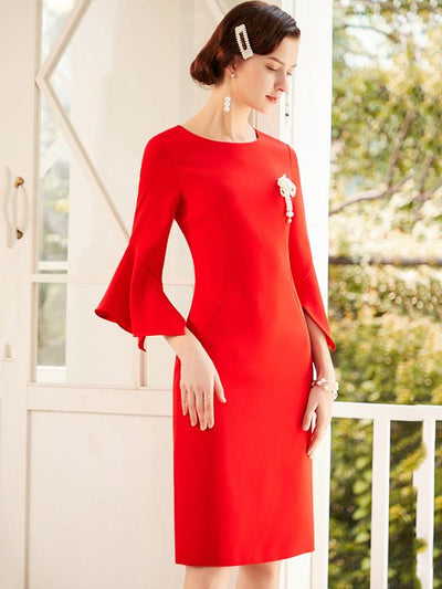 Chic Red Solid Flare Sleeve Bodycon Dress