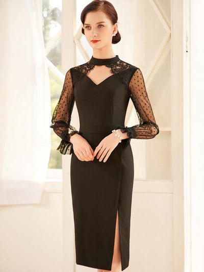 Elegant Stitching Mesh Perspective Bodycon Dress
