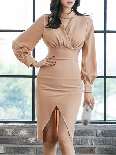 Styleonme Work Hollow Out Irregular Bodycon Dress