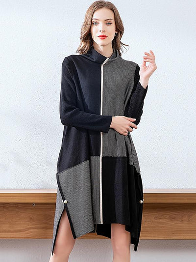 Stand Collar Knit Color-Block Shift Dress