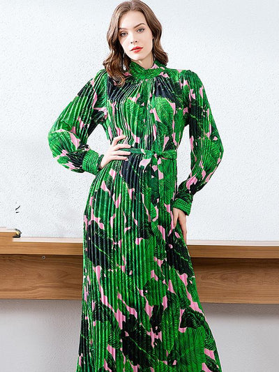 Vintage Partysu Big Hem Green Pattern Maxi Dress