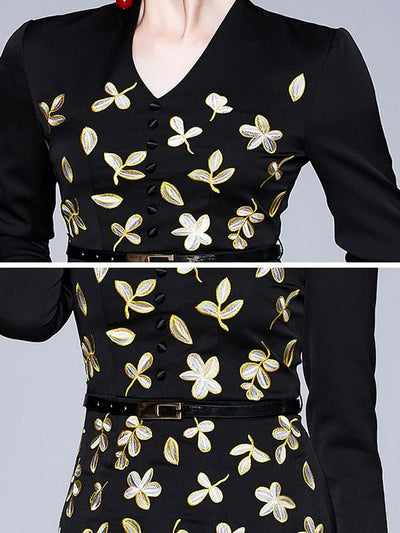 Elegant Stitching Embroidery Bodycon Dress(Without Belt)