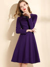 Purple Solid Beaded Drape A-Line Skater Dress