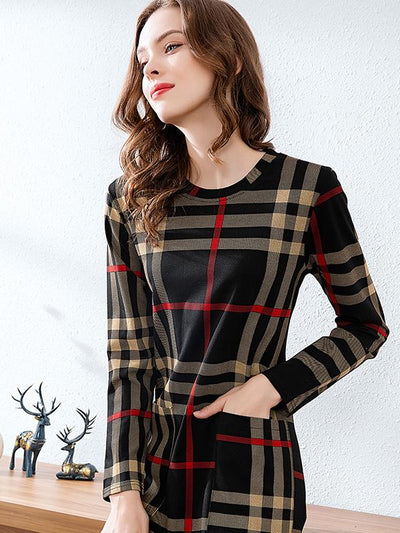 Vintage Packet Hit Color Plaid Bodycon Dress