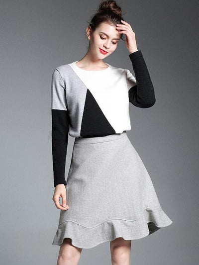 Chic Two Piece A-Line Falbala Knit Sweater Dress