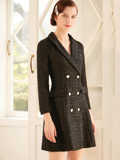 Sweet Paillette Double-Breasted Slim Coat