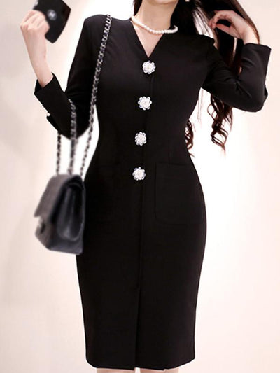 Elegant Flower Fastener Solid Bodycon Dress