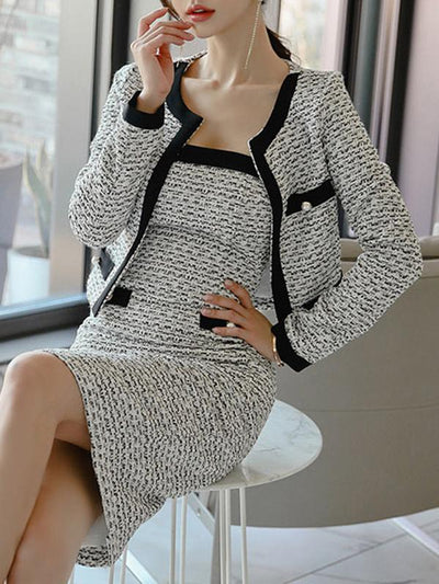 Work Two Piece Stitching Jumper Coat Bodycon Dress
