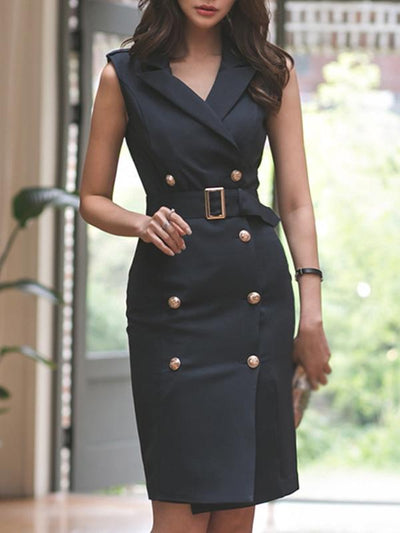 Chic Belted Double-Breasted Sleeveless Bodycon Dress