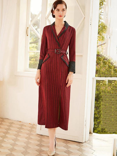 Stylish Belted Slit Stripe Stitching Maxi Dress