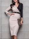 Chic Stitching Belt Color-Block Hit Color Bodycon Dress