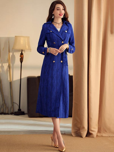 Elegant Lacing Belted Lace Print Blue Trench Coat