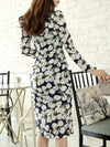 Vintage Sweet Square Neck Flower Print Bodycon Dress