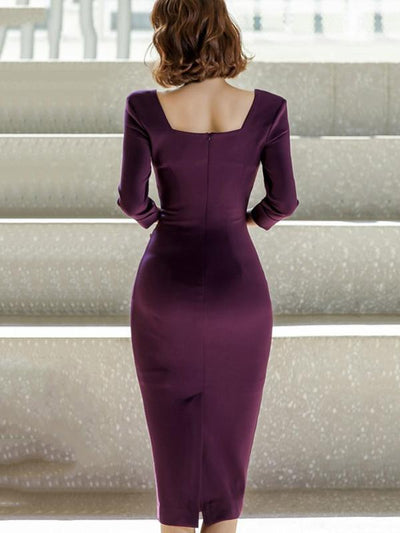 Sexy Scoop Neck Solid Purple Bodycon Dress