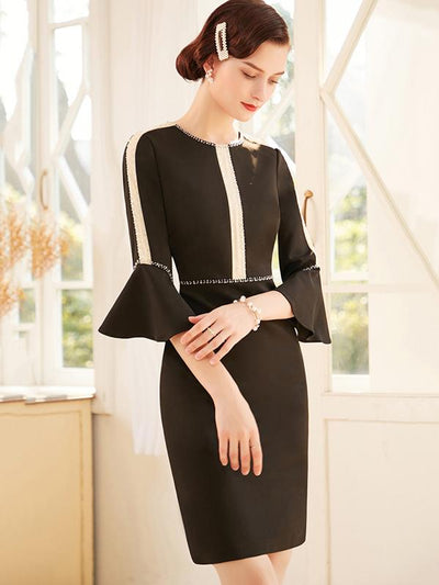 Chic Stitching Beading Flare Sleeve Bodycon Dress
