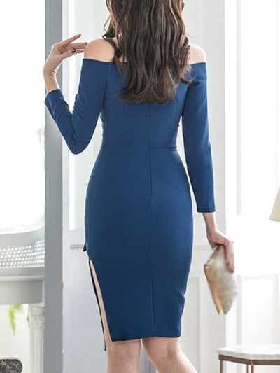 Sexy Slim Boat Neck Belted Sheath Bodycon Dress