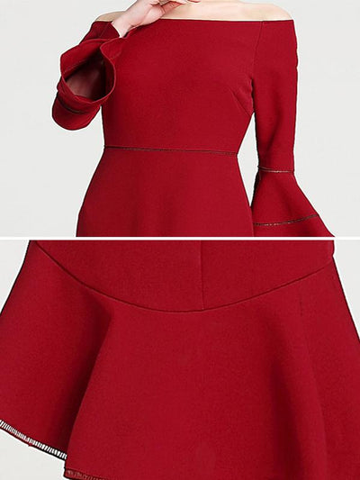 Classic Falbala Boat Neck Red Big Hem Skater Dress