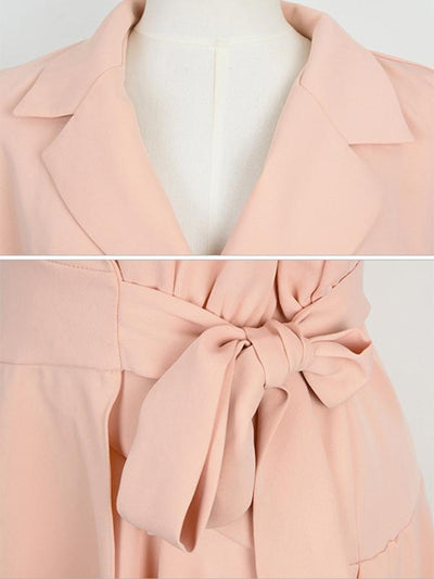 Work Pink Turn-Down Collar Belted Mini Skater Dress