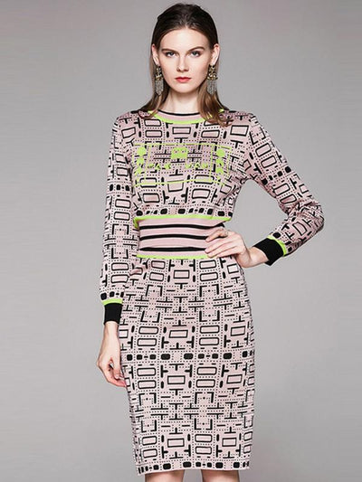 Winter Warm Elastic Slim Stitching Two Piece Sweater Dress