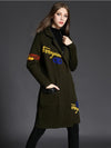 Stylish Slim Embroidery Knitted Lapel Collar Trench Coat