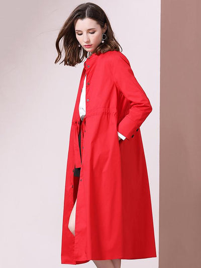 Casual Girdle Stand Round Collar long Sleeve Big Hem Trench Coat
