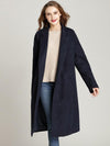 Simple Chic Long Sleeve Turn-Down Collar Shift Loose Coat