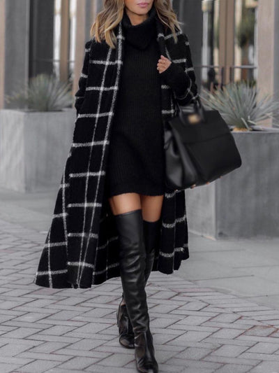 Simple Turn-Down Collar Long Sleeve Plaid Straight Long Coat