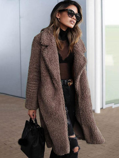 Chic Turn-Down Collar Long Sleeve Straight Long Coat